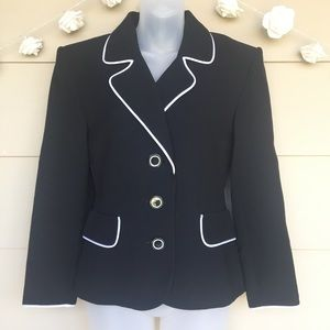 Yves Saint Laurent Classic Black Blazer White Trim